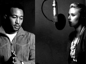 Yes We Can 뮤직비디오에 참여한 존 레전드(왼쪽)과 스칼렛 죠핸슨(오른쪽)