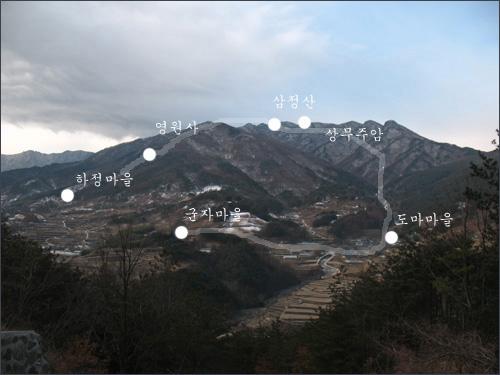 금대산 (847m)에서 바라본 삼정산(1,210m)과 빨치산 영원사 루트.