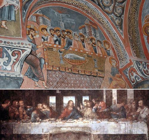 최후의 만찬 그림 카파도키아 암굴교회에 있는 최후의 만찬 그림(위)과 다빈치의 최후의 만찬 그림(아래). 예수와 유다의 위치가 달라졌다. 암굴교회의 그림은 천년이 지난 지금도 너무나 생생하다.