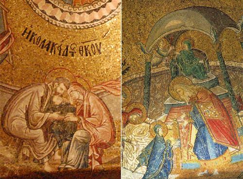 성모 마리아의 성장에 관한 그림 모두 코라성당(박물관)에 있는 그림이다. 왼쪽은 성모마리아의 부모님이 아기 성모를 보살피고 있고, 오른쪽은 사원에 맡겨진 성모를 성직자와 천사가 키우고 있다.