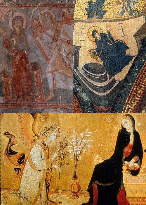 수태고지 천사 가브리엘이 마리아에게 그녀가 아기를 잉태했음을 알려주는 그림이다. 위 왼쪽은 카파도키아의 바클동굴교회에, 오른쪽은 이스탄불 코라박물관에 있으며, 아래쪽은 르네상스 시기에 마르티니가 그린 그림이다.