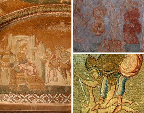 유아학살도 헤롯왕은 갓 태어난 아기가 유대의 왕이 된다는 말에 베들레헴 지역 2살 이하의 유아들을 학살하라고 명령한다.(왼쪽) 어머니가 보는 앞에서 아기를 죽이기도 하고(오른쪽 위), 발로 짓밟고 아기 목에 칼을 찌르고 있다.(오른쪽 아래)
