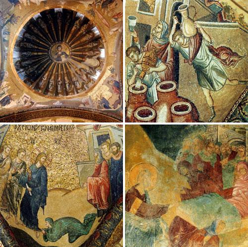 예수기적도 예수가계도 모서리에 그려진 네가지 기적(왼쪽 위)과 물을 포도주로 만든 기적(오른쪽 위)도 있고 병을 낫기 위해 예수 옷자락을 잡는 여인의 모습(왼쪽 아래)과 병자를 일으킨 장면(오른쪽 아래)도 있다.