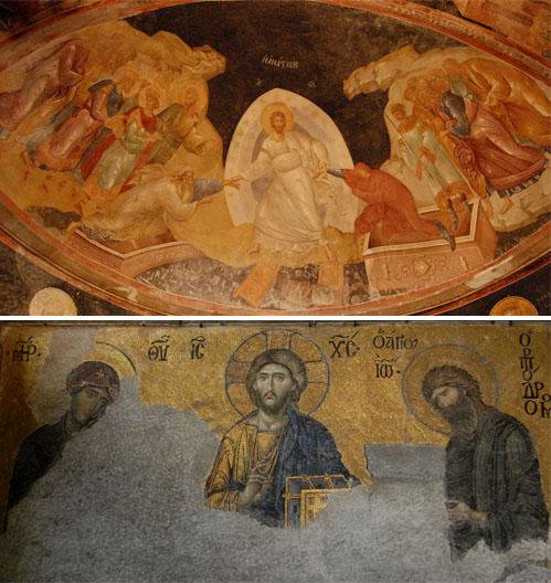 지옥정복도 부활한 예수가 진리의 세상을 완성해가는 모습의 그림이다. 코라성당의 그림은 석관에 죽어 있는 아담과 이브를 구출하는 장면(위)이고 아야소피아성당의 그림은 예수와 성모와 세례자 요한이 활동하고 있는 장면(아래)이다.