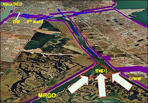 양영석씨가 만든 그래픽. 카트리나 급승 당시 운하를 통한 '깔때기 효과'를 보여준다.
