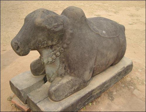 프레아코의 '성스러운 소' 프레아코는 힌두어로 '성스러운 소'라는 말이다. 사원앞을 지키는 하얀 소의 상