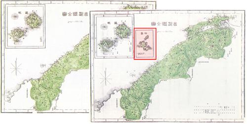 1905년 전후로 제작된 시마네현전도 시마네현 고시 이전 지도(왼쪽)에는 오끼섬만 그려져 있으나 1905년 2월 시마네현고시 이후에 제작된 지도(오른쪽)에는 독도(붉은색표시)그려져 있다.