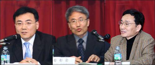토론자 1 시국토론회의 발표자들(오른쪽부터 한학성, 송환웅, 이병민)