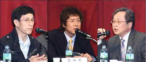 토론자 2 시국토론회 토론자와 사회자(오른쪽부터 김영명, 정재환, 진중권)
