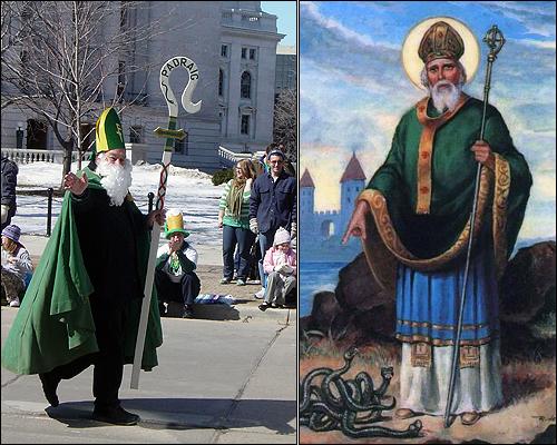 시가지 행렬에 등장한 성 패트릭과 그의 초상. 그가 아일랜드에서 뱀을 몰아냈다는 전설이 있지만, 아일랜드에는 과거부터 뱀이 존재하지 않았다.