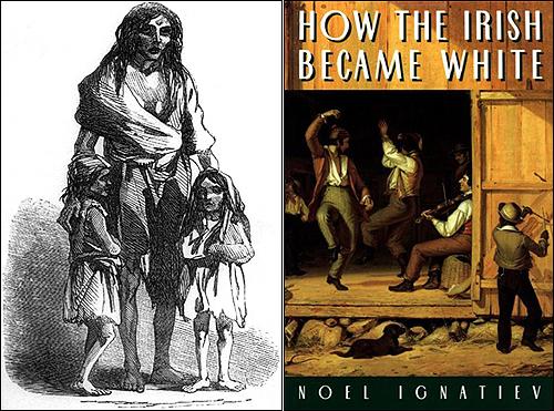 1849년에 그려진 한 아일랜드 가족의 모습(왼쪽). 1845년부터 5년 간 지속되었던 감자흉년으로 인해 수백만 명이 죽거나 이민의 길을 떠났다. 미국으로 이주한 아일랜드인의 삶도 순탄치는 않았다. 그들은 '흰 검둥이'로 불리는 인종차별을 겪었다. 오른쪽은 아일랜드계 미국인의 차별을 기록한 저서 <아일랜드인은 어떻게 백인이 되었나>.
