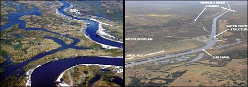 운하건설 전인 1961년의 키시미강(왼쪽)과 운하건설로 직강화된 키시미강
