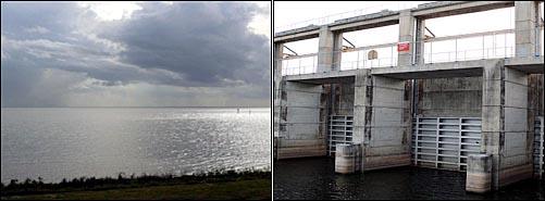 미국에서 두 번째로 큰 호키초비호수(왼쪽)와 화물선박운행이 없어 굳게 닫힌 오키초비운하갑문.
