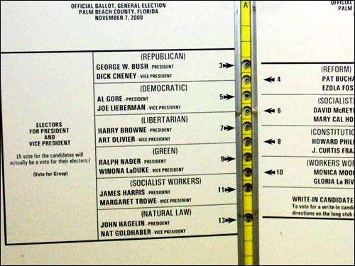 본선거에서 유권자들이 사용하는 투표용지. 지역마다 형태가 다르지만, 투표용지에는 대선 후보의 이름이 적혀 있다. 비록 지지하는 후보의 이름에 표시해서 투표함에 넣지만, 이 표는 후보의 득표수로 직접 연결되지 않고 선거인단의 수를 계산하는 목적으로만 사용된다. 사진은 2000년 선거 당시 문제가 되었던 플로리다 주 팜비치 카운티의 '나비투표용지.' 유권자들의 혼란과 오판을 유도한다는 주장이 제기되기도 했다.