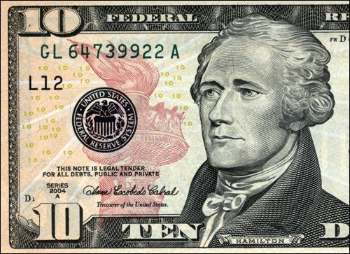 미국 '건국의 아버지' 가운데 한 명인 알렉산더 해밀턴. 미국 10불 지폐의 모델이기도 하다.