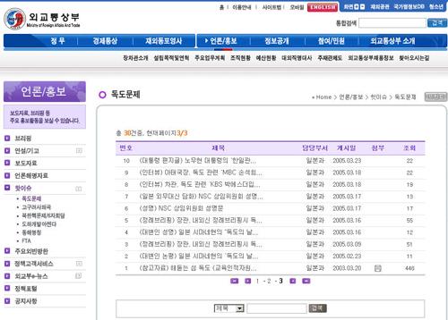 외교통상부 홈페이지 '핫이슈' 독도문제 일본 외무성과 달리 우리 외교통상부는 논평과 다른 여러기관에서 발행한 자료를 구분없이 등록해 놓아 한국 정부의 기본 방침을 확인하는데 어려움이 있다.