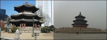 고대 제천행사의 전통을 계승한 한국의 원구단(왼쪽)과 중국의 천단. 두 민족이 상당 기간 동안 별도의 제천행사를 지냈다는 사실은 두 민족이 정치적으로 별개의 존재였음을 보여주는 것이다.