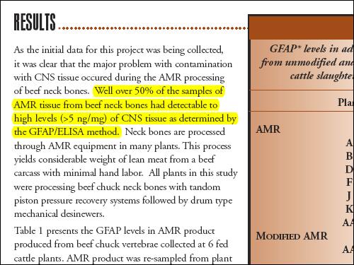 한국이 수입하기로 한 육회수공정(AMR) 쇠고기와 분쇄육은 중추신경조직과 골수가 섞여 들어갈 위험이 높으며, 여러 마리의 소가 섞여 들어가기 때문에 프리온이 포함될 가능성도 높다. 축산협회 보고서도 육회수공정으로 얻은 고기의 50퍼센트 이상에서 특정위험물질인 중추신경(CNS) 조직이 발견되었다고 밝히고 있다.