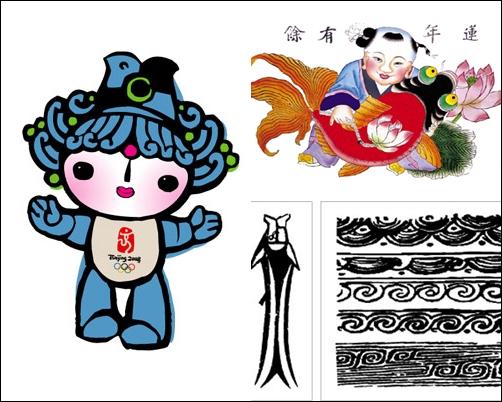 베이베이 베이징올림픽 마스코트 베이베이는 잉어와 신석기 시대 물고기 문양