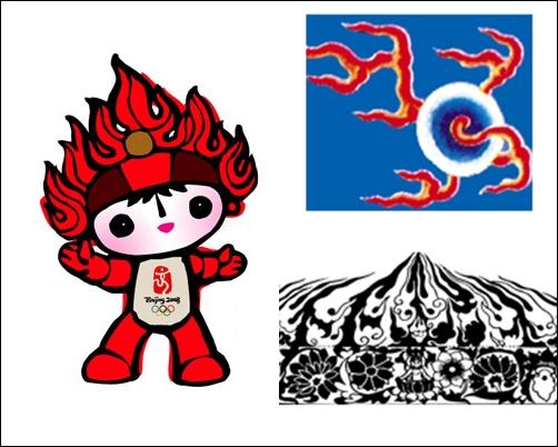 환환 베이징올림픽 마스코트 환환은 불의 형상과 둔황 석굴 벽화 화염 문양