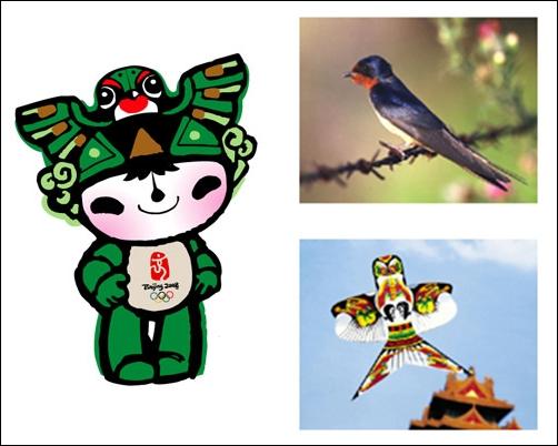 니니 베이징올림픽 마스코트 니니는 제비와 베이징 연의 문양