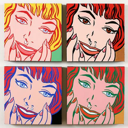 happy runny nose-(4), 77cm-77cm 2008 , oil on canv 이화백의 야심작, '행복한 콧물' 시리즈 중에서. (77cm-77cm 2008 ,oil on canvas). 개별 작품을 4개, 3개 등 하나의 셋트로 구성하기도 했다.