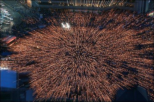 광우병위험 미국산쇠고기 수입반대 및 재협상 촉구 24차 촛불문화제가 31일 저녁 서울시청앞 광장에서 네티즌과 시민, 학생들이 참석한 가운데 열리고 있다.