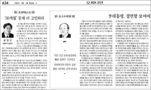 조선일보 6월 2일자 오피니언면. 김대중칼럼과 윤영신 경제부 차장대우의 칼럼 등이 실려 있다.