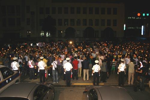 항의행진 경찰의 폭력진압에 항의하는 시민학생들