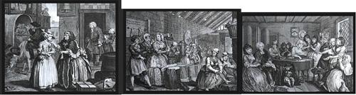 윌리엄 호가스 <매춘부의 편력(the Harlot's Progress)> 연작 중 일부, 1732년