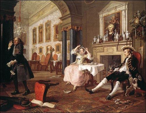 윌리엄 호가스 <유행에 따른 결혼 연작 中 결혼 직후> 1743, 런던 내셔널 갤러리 소장 돈으로 신분을 산 중산 계층의 여성과 몰락한 가문의 남자 그들의 결혼 생활을 풍자적으로 묘사한 작품. 재산취득이나 신분상승의 수단으로서의 결혼이 '유행'이 될 정도로, 극에 달한 영국사회의 허영을 풍자했다.