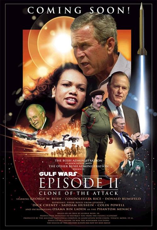 이라크 전쟁 당시, 영화 <스타워즈 에피소드 2 : 클론의 습격>을 패러디한 누리꾼의 포스터. 아버지 부시의 '걸프전쟁'과 아들 부시의 '이라크 전쟁'이 마치 클론처럼 똑같다.
