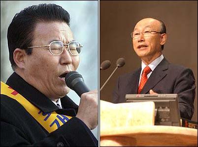 세계 최대의 감리교회를 이끄는 김홍도 목사(왼쪽 사진)와 세계 최대의 순복음교회를 이끄는  조용기 목사(오른쪽 사진).