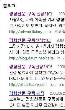 경향신문을 구독한 포털사이트 다음 블로거들의 글