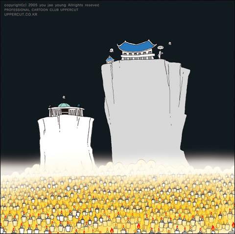 카툰창작집단 '카툰스튜디오 엎어컷(www.uppercut.co.kr)'의 유재영씨의 작품을 소개한다. 제목은 '축젠가'이다. 엎어컷은 오는 11일부터 17일까지 세종문화회관 광화랑에서 카툰 전시회 '안녕하세요? 대한민국'을 열 예정이다.