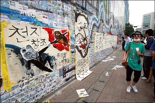 미국산 쇠고기 전면수입개방 반대 72시간 릴레이 농성 둘째날인 6일 오후 서울시청 주변에 이명박 대통령을 풍자하는 내용의 그림이 전시되고 있다.