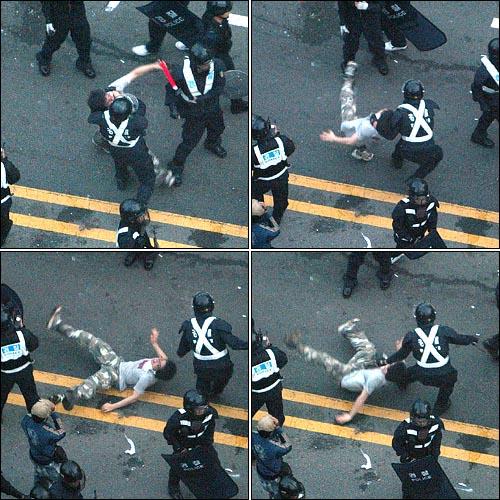 미국산쇠고기 수입 전면개방 반대 72시간 릴레이 농성 나흘째인 8일 새벽 서울 세종로네거리에서 밤을 새워 격렬한 시위가 벌어진 가운데 진압에 나선 경찰이 한 시민의 목을 낚아채서 땅바닥에 쓰러뜨리고 있다. 사진 왼쪽 위부터 시계방향으로.