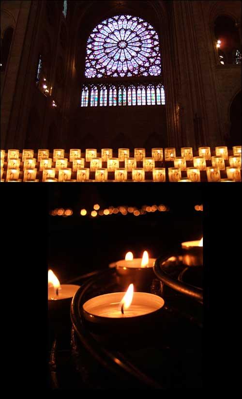 노트르담 대성당에서 촛불을 켜다  집에서 촛불 켜기가 여의치 않아, 성당까지 가서 초를 켰습니다. 이로서 파리 노트르담 대성당에도 촛불 문화제를 응원하는 불꽃 하나가 타오르게 되었네요^^! 아무도 다치지 않길 열심히 기도했답니다. 여러분도 함께 빌어주세요.