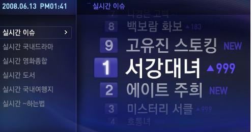 6월 13일 오후 1시경 '다음' 실시간 검색어 순위 100분 토론 방영 후 '서강대녀'가 누리꾼들의 화제에 오르고 있다.