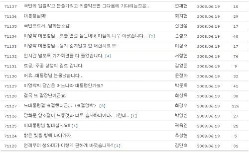 청화대 게시판 특별기자회견이 끝난 후 네티즌들의 서로 엇갈린 의견들이 올라오고 있다.