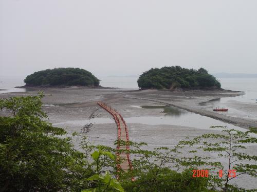 안면암에서 바라본 조구널 섬 조기를 말리기 위해 널었다는 뜻의 조구널이란 섬으로 부교를 건너는 재미가 있다.