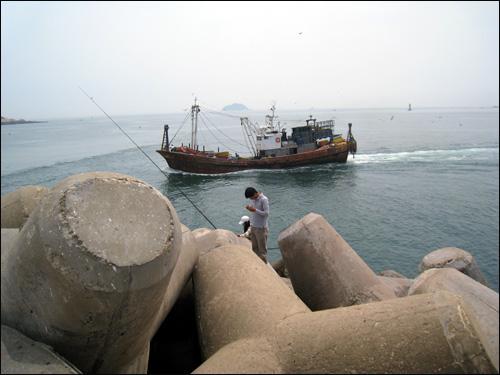 낚시꾼과 어업선 조업을 나갔던 어업선이 항구로 들어오는 모습과 미끼를 갈아 끼우고 있는 낚시꾼의 모습이 활기차게 보인다.