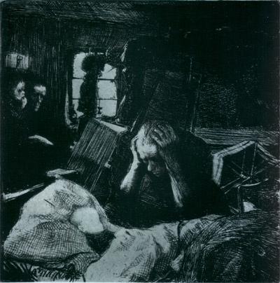 케테 콜비츠 <빈곤(Not)>, 석판(Lithograph printed on yellow chine collE), 1893-1894