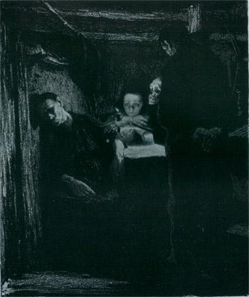 케테 콜비츠 <죽음(Tod)>, 석판(Lithograph printed on yellow chine collE), 1897