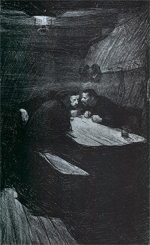 케테 콜비츠 <회의(Beratung)>, 석판(Lithograph printed on yellow chine collE), 1898