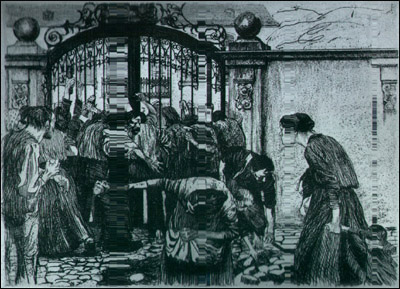 케테 콜비츠 <폭동(Sturm)>, 동판(Etching and mezzotint on wove paper), 1897