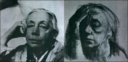 1930년대 초의 콜비츠 사진(좌)과 1920년에 그린 팔을 괸 자화상(우)