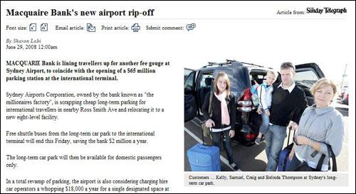 '맥쿼리은행이 시드니 공항을 벗겨먹고 있다'고 보도한 <데일리텔레그래프>.