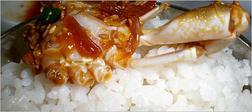 밥도둑 뜨끈한 밥 한술 뜨고 나서 알이 통통한 간장게장을 아작 한입 깨무니 상큼하고 달큼한 바다의 향기가 깊게 베어난다.