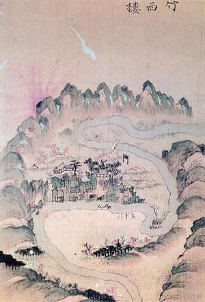 옛 사람이 그린 죽서루: 오십천과 태백산이 보인다.